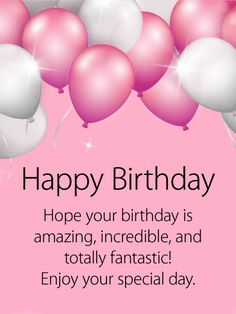 Shining Pink Amp White Birthday Balloon Card For That Loving Friend In