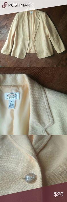 Talbots Yellow Blazer Light yellow heavy knit blazer. Lined. Great condition. Talbots Jackets & Coats Blazers