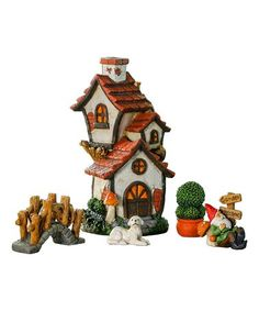 Cottage Miniature Fairy Garden Five-Piece Set #zulily #zulilyfinds