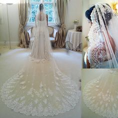 2014 velo de novia Three Meters Long cathedral Wedding Veils lace Ivory White Two layers Tulle and lace Bridal Veils Purfle Comb 89.99