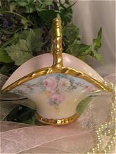 """""""Gorgeous Baby PINK WHITE TEA ROSES"""" Antique Limoges France Hand Painted Brides Candy Basket Victorian China Painting 19th Century French Style Rococo Gilt Handle EXQUISITE FRENCH LIMOGES FINE ART BASKET circa 1900"""