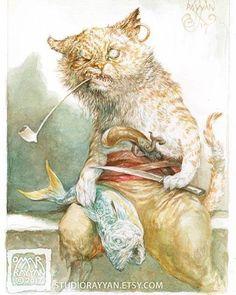 """sorcerersskull: """"Art by Omar Rayyan """" Fantasy Kunst, Fantasy Art, Omar Rayyan, Character Art, Character Design, Felt Cat, Wildlife Art, Art World, Cat Art"""