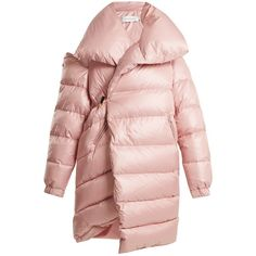 Marques'Almeida Oversized asymmetric quilted coat ($1,311) ❤ liked on Polyvore featuring outerwear, coats, jackets, light pink, pink coats, light pink coat, asymmetrical coat, quilted coat and oversized padded coat