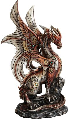 """Amazon.com: Custom & Unique {10"""" x 5.8"""" Inch} 1 Single Large, Home & Garden """"Standing"""" Figurine Decoration Made of Resin w/ Metallic Industrial Vibrant Steampunk Mechanical Dragon Style {Assorted Color}: Home & Kitchen"""