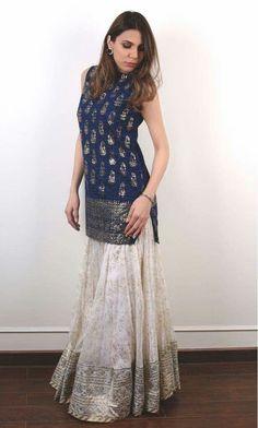 Buy Blue And White Color Sharara Kurta by Akanksha Singh at Fresh Look Fashion Pakistani Dress Design, Pakistani Outfits, Indian Outfits, Indian Designer Outfits, Designer Dresses, Asian Fashion, Look Fashion, Sharara Designs, Saree Dress