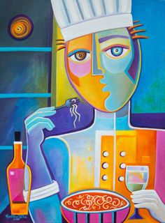 Cubist Painting Original Abstract Art Oil on canvas Artwork for sale The Chef Marlina Vera Modern Fine Art Gallery Picasso Style french