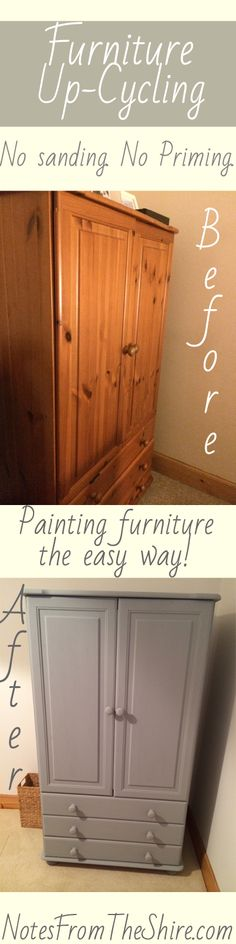 Painting furniture the easy way! Weekend project, refurbishing an old wardrobe #Upcycling furniture #PaintingFurniture
