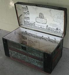 Old Trunks, Vintage Trunks, Trunks And Chests, Antique Trunks, Old Trunk Redo, Wicker Storage Trunk, Vintage Steamer Trunk, Trunk Makeover, Painted Trunk