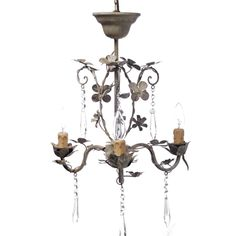 3 Arm Chandelier with Crystals