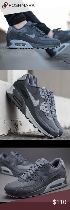 Nike Air Max 90 Dark grey and Wolf Grey. Brand New in box. (No lid) Nike's most popular edition. Never used or even tried on. Amazing tones of darker and lighter grey. Match with every color. Nike Shoes Sneakers