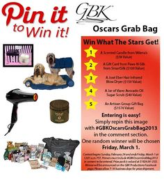 Win What the Stars Get! Repin to win a selection of products gifted to the stars during Oscar weekend 2013 from GBK Productions.  #GBKOscarsGrabBag2013  Learn more about the products:  www.milenasboutique.com  www.pawsnsilk.com  www.joseeberhair.com  www.viavo.net  www.theartisangroup.org
