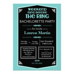Blue Bachelorette Shower Invitation