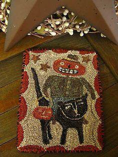 "Primitive Punch Needle ~ ""TREATS FOR TRICKSTERS"" ~JOL~ Folk Art ~ Mini Rug ~ Mat"