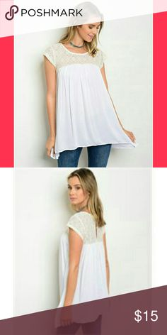 """💕COMING SOON💕WHITE CREAM TOP Country: USA Fabric Content: 100% RAYON Description: L: 30"""" B: 36"""" W: 44"""" Tops Blouses"""