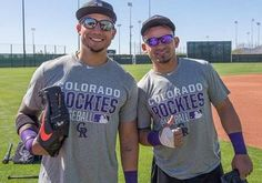 Carlos González & Gerardo Parra Colorado Rockies Ian Desmond, Rockies Baseball, Mlb Players, Colorado Rockies, Diamond Are A Girls Best Friend, Best Games, Mens Tops, Diamonds, Sport