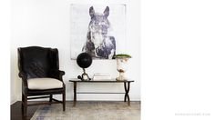 Digging the black and white, the horse art, the leather, that globe, and a green splash.