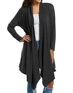 1668b670c2 Zeagoo Women s Long Sleeve Draped Open Front Fall Winter Cardigan Sweater  (XXL