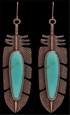 LoulaBelle Copper and Turquoise Feather Earrings LE9014TQ