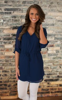 The Pink Lily Boutique - Make My Way Tunic Dress Navy, $42.00 (http://thepinklilyboutique.com/make-my-way-tunic-dress-navy/)