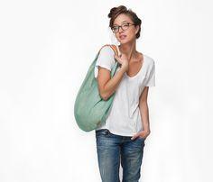 HOBO Bag Mint hobo bag slouch tote bag by LeahLerner on Etsy