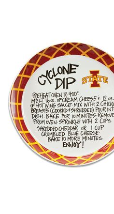 This plate is an awesome way to cheer on your team and it comes with a recipe!