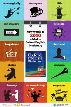 New words of 2010 - added to the Oxford English Dictionary. #learn #english #esl #toefl