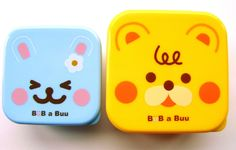 Cute Animals  2 Snack Size Bento Box Yellow blue