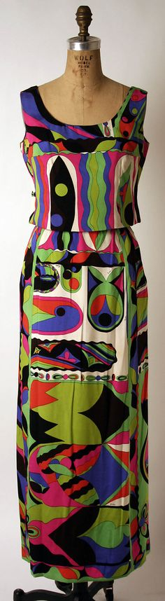 1965 Emilio Pucci silk evening dress. I adore this fabric and cut.