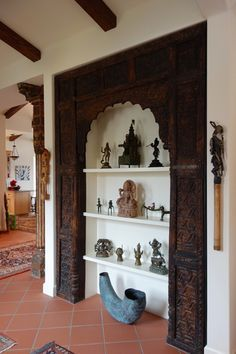 Material Culture in a home in Carmel Valley California - Indian Carved Panel India Decor, Ethnic Home Decor, Indian Home Decor, Indian Decoration, Indian Furniture, Home Decor Furniture, Pooja Room Design, Home Decoracion, Indian Interiors