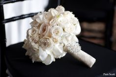 Classic all white wedding bouquet