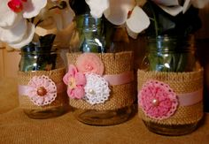 Pink Perfection 2 set of 3 Mason Jars by PineknobsAndCrickets, $26.75