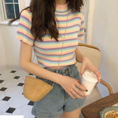 Itgirl shop cute pastel stripes o-neck short sleeve summer t-shirt Korean Girl Fashion, Korean Street Fashion, Ulzzang Fashion, Cute Fashion, Fashion Outfits, Korean Fashion Pastel, Aesthetic Fashion, Aesthetic Clothes, Aesthetic Outfit