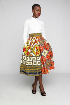 Are you still looking for a perfect style for your African print skirt? African Inspired Fashion, African Print Fashion, Africa Fashion, Fashion Prints, African Attire, African Wear, African Women, African Dress, African Print Skirt