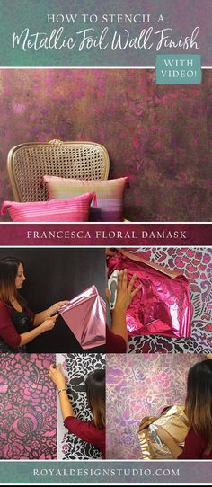 Learn how to stencil and apply metallic gold and pink foil to an accent wall with a flower damask design. This boho glam style is the perfect DIY decor project.