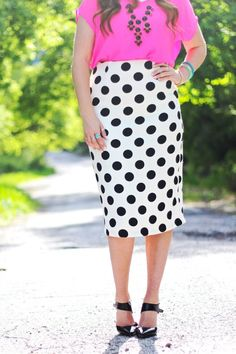 Polka Dot Skirt featuring Dainty Jewell's | Modest Style