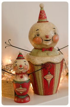 Pair of original snowmen candy containers by Johanna Parker