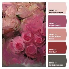 sweet strong feminine reds pinks charcoals roses painting art inspired teen girls room wedding birthday bridal baby shower party scheme Paint colors from Chip It! by Sherwin-Williams #chipit #sherwinwilliams