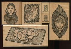 Stampin Up OUT OF AFRICA Tribal Patterns African Woman Man Fruit WM Rubber Stamp #StampinUp