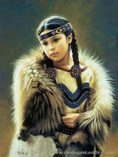 Native American Art, Oil on canvas by Karen Noles Native Child, Native American Children, Native American Beauty, American Indian Art, Native American History, American Indians, Native American Paintings, Native American Pictures, Native Indian