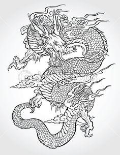 ilustração de tatuagem de dragão — Vetorial Stock  #28960259