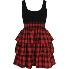 Tiered Plaid Dress ($20) ❤ liked on Polyvore featuring dresses, vestidos, short dresses, red, casual, red mini dress, buffalo plaid dresses, plaid dress and braid dress