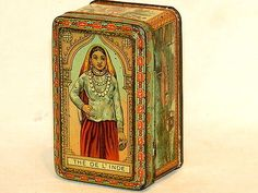 Calcutta India Elephant Lady Plantation Free Sample Tea Tin 1900