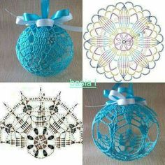 New diy christmas ball ornaments navidad 28 ideas Christmas Balls Diy, Crochet Christmas Ornaments, Christmas Crochet Patterns, Crochet Snowflakes, Crochet Doily Patterns, Crochet Motif, Christmas Crafts, Ball Ornaments, Christmas Tree