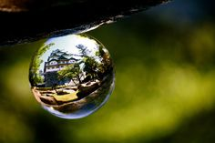 Doing Crystal Ball Refraction Photography - house inside glass ball