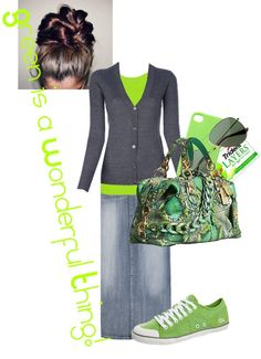 """Green is a Wonderful Thing"" by sarah-witmer-maerz on Polyvore ~I would really wear this outfit to school..."