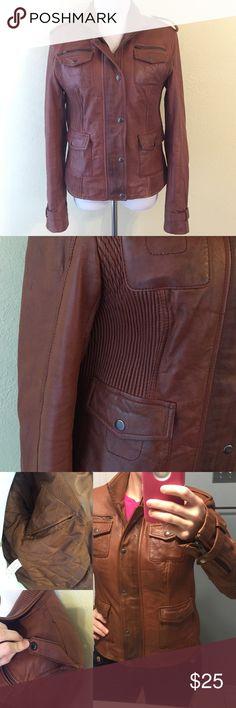 Selling this Mango MED/LG Leather Moto Jacket Cognac Euro Large in my Poshmark closet! My username is: styleinthebag. #shopmycloset #poshmark #fashion #shopping #style #forsale #Mango #Jackets & Blazers