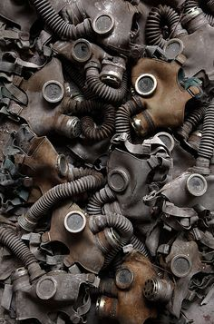 Gas Masks abandoned after the Chernobyl disaster in Pripyat, Ukraine. A haunting reminder for future generations.