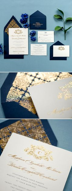 Regal and richness best describes Maggie. This invitation is 2 ply featuring gold foil ink. The navy envelope lined in the gold foil pattern sets the tone u Elegant Wedding Invitations, Wedding Stationary, Wedding Invitation Cards, Wedding Cards, Our Wedding, Dream Wedding, Wedding Dinner, Wedding Favours, Wedding Rings