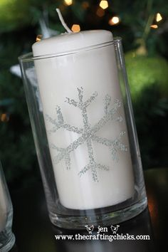 Snowflake painted candle decor