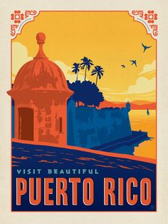 Puerto Rico - We were inspired by vintage travel prints from the Golden Age of Poster Design (a glorious period spanning the late-1800s to the mid-1900s.) So we set out to create a collection of brand new international prints with a bold and adventurous feel. This lovely print celebrates the tropical beauty of Puerto Rico<br />